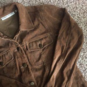 Vintage Jackets & Coats - Brown suede shirt jacket